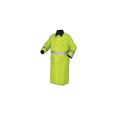 "River City Lime Green And Black 48"" Luminator 0.54 mm Nylon Reversible Rain Coat With Taped Seams, Snap Wrists, 2 Pockets, Black Badge Holder With Plastic Grommet, Underarm Air Vents With Plastic Grommets, 2"" Silver Stripe"