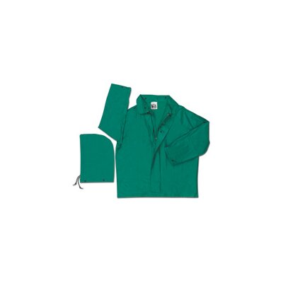 River City Green 0.42 mm Polyester Flame Retardant Chemcial Resistant Jacket With Welded Seams, Detachable Drawstring Hood, With Inner Sleeves, Plain Back, And No Underarm Vents