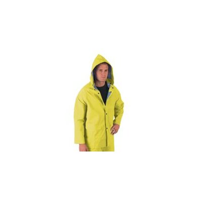 River City Yellow 0.35 mm Polyester Rain Jacket With Welded Seams, Storm Flap Over Snap Front Closure, Detachable Drawstring Hood, Snap Wrists, Cape Ventilated Back, 2 Patch Pockets With Flap And Underarm Air Vents