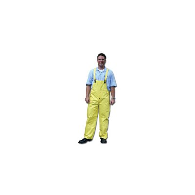 River City Yellow 0.28 mm Nylon Rain Bib Overalls With Welded Seams, Snap Fly Front Closure, Snap Wrists, Snap Ankles, Reinforced Crotch, Elastic Insert Adjustable Suspenders And
