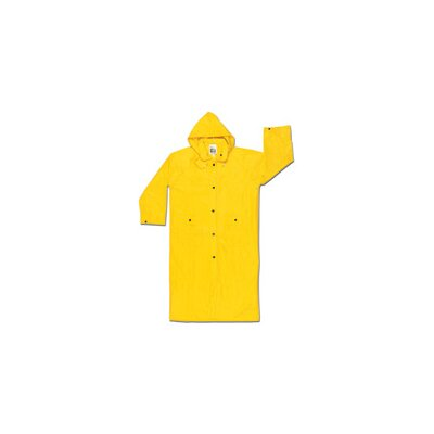 "River City Yellow 49"" 0.28 mm Nylon Rain Coat With Welded Seams, Storm Flap Over Snap Front Closure, Detachable Drawstring Hood, Snap Wrists, Cape Ventilated Back, Two Patch Pockets With Flap With Black Plastic Closure And Underarm Air Vents"