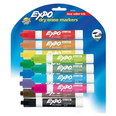 Dry-erase Markers,Chisel Point,Nontoxic,12/PK,Assorted