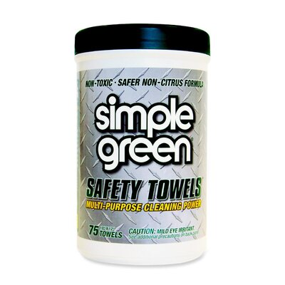 Simple Green® Citrus Scented Safety Towels, 10 x 11 3/4, 75/Canister