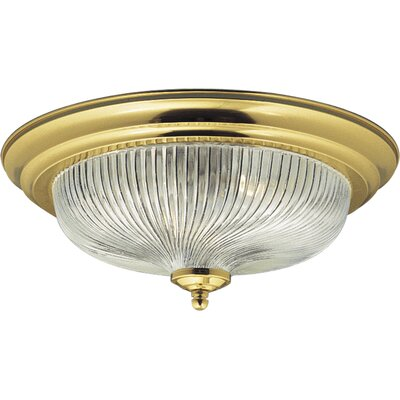 Polished Brass Swirl Glass Flush Mount
