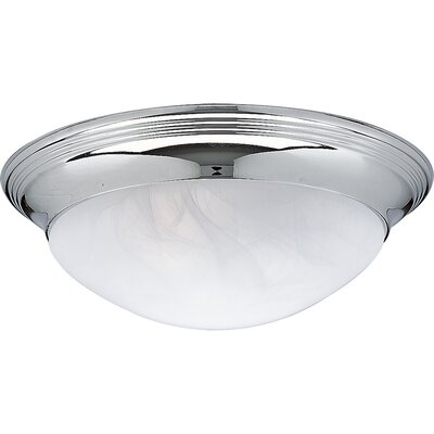 Progress Lighting Etched and Faceted Glass Oxford Silver Flush Mount