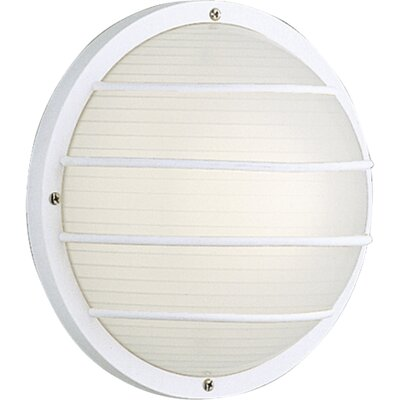 Progress Lighting Polycarbonate Round Incandescent 1 Light Outdoor Flush Mount with Grill
