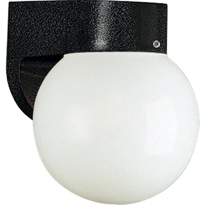 "Progress Lighting Black 6"" Acrylic Globe Outdoor Wall Lantern"
