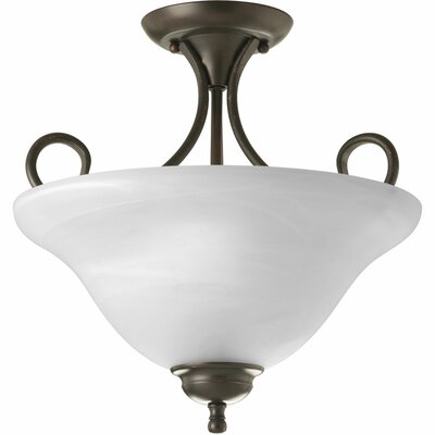 Alabaster 2 Light Semi Flush Mount