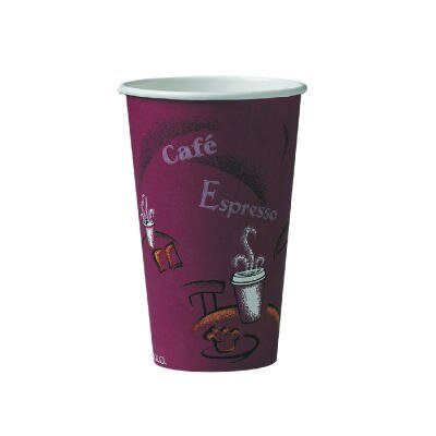 Solo Cups 6 Oz Polylined Paper Hot Drink Cups Bistro Design in Maroon