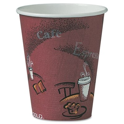 Solo Cups Company Bistro Design Hot Drink Cups, Maroon, 500/Carton