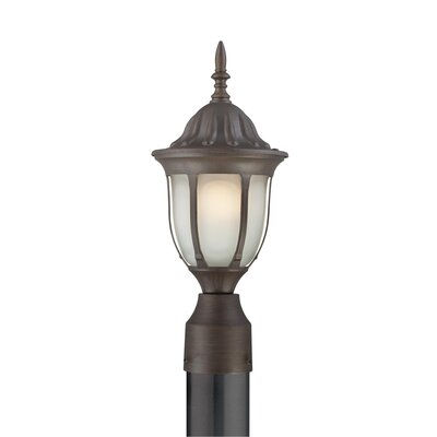 Thomas Lighting Westchester One Light Etched Glass Outdoor Post Lantern in Painted Bronze