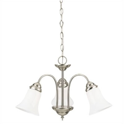 3 Light with Opal Glass Chandelier