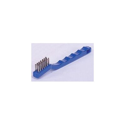 "Weiler Hand Scratch Brush With 7 1/2"" X 1/2"" Block And 3 X 7 Rows 1/2"" Trim 0.006 Stainless Steel Fill And Plastic Handle"