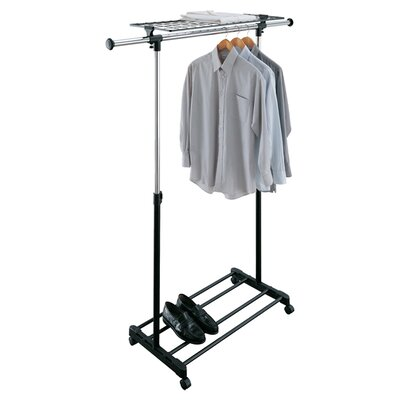 Adjustable Garment Rack with Shelf in Black and Chrome