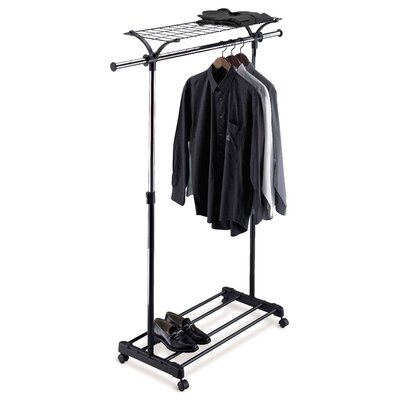 OIA Adjustable Garment Rack with Shelf in Black and Chrome