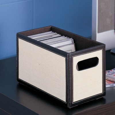 OIA Jute Stackable CD Holder in Dark Brown and Linen