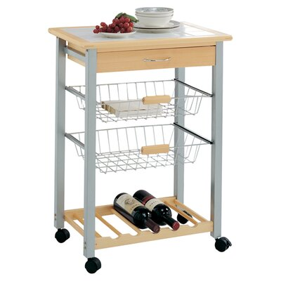Oia Organize It All Kitchen Cart With Tile Top Reviews Wayfair
