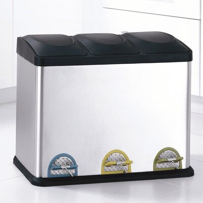 Three Compartment Step-On Recycling Bin in Stainless Steel and Black (11.8 Gal)