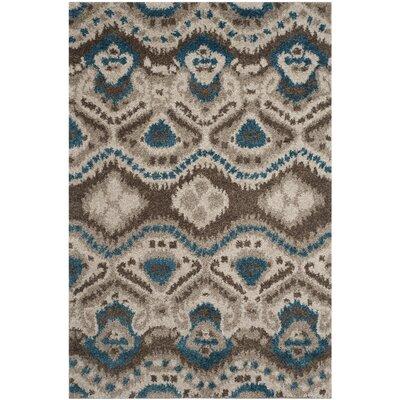 Tibetan Brown/Turquoise Ikat Rug