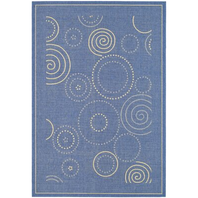 Safavieh Courtyard Blue/Natural Circle Outdoor Rug