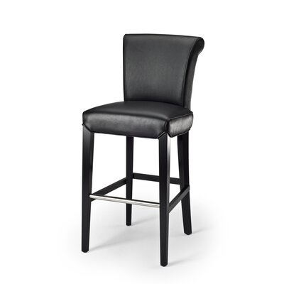 Seth Leather Barstool in Black