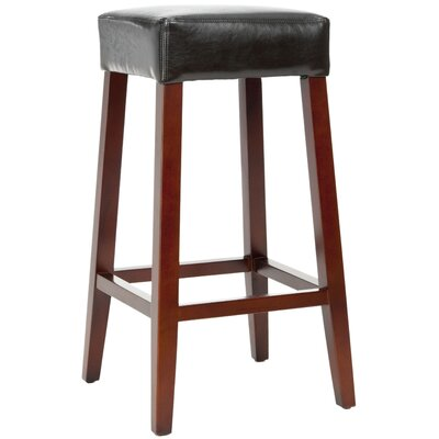 Safavieh Isabella Bicast Leather Barstool in Black