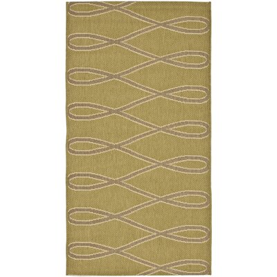 Safavieh Courtyard Green/Crème Wave Outdoor Rug