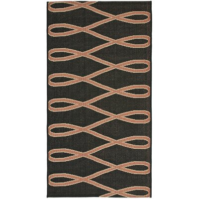 Safavieh Courtyard Black/Crème Wave Outdoor Rug