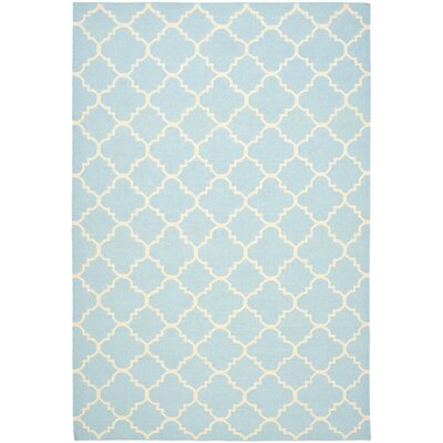 Safavieh Dhurries Light Blue/Ivory Checked Rug