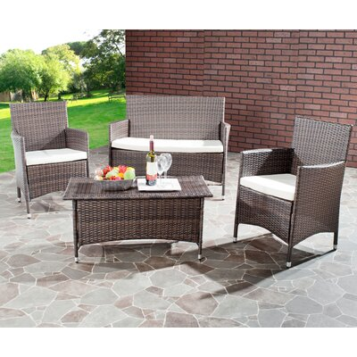 Safavieh Manning 4 Piece Wicker Lounge Seating Group