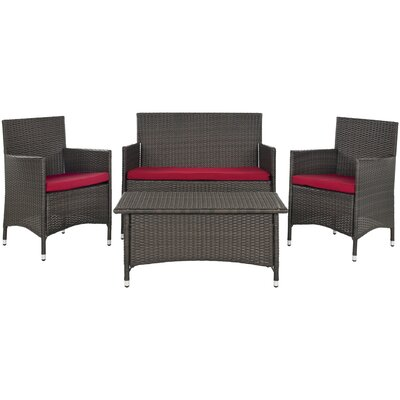 Safavieh Mojavi 4 Piece Deep Seating Group with Cushion