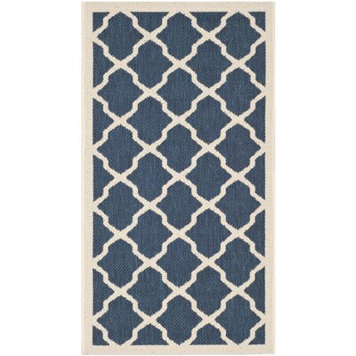 Safavieh Courtyard Navy / Beige Outdoor Rug