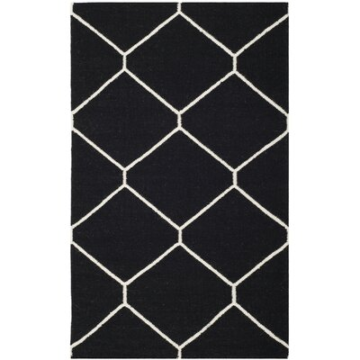 Safavieh Dhurries Black/Ivory Rug