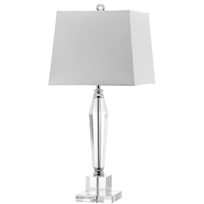 """Safavieh Aiden Faceted 28"""" H Table Lamp with Square Shade"""