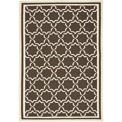 <strong>Safavieh</strong> Dhurries Chocolate/Ivory Cross Rug
