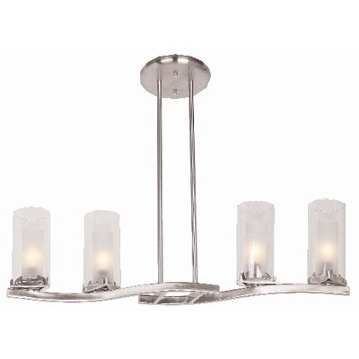 Proteus Glass Pendant Chandelier in Brushed Steel