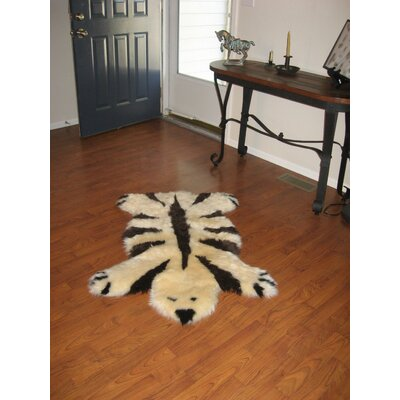 Bowron Sheepskin Designer Bear Champagne/Chocolate Animal Rug