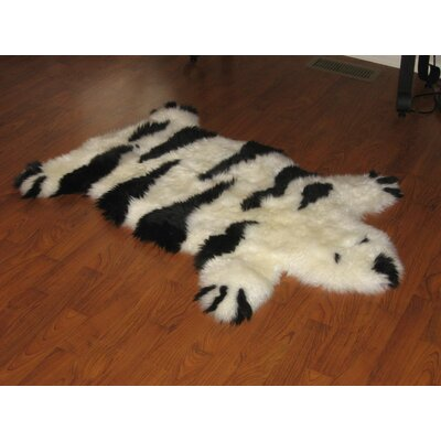 Bowron Sheepskin Rugs Designer Stripe Bear Black / Ivory Animal Rug