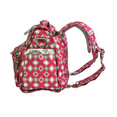 Ju Ju Be BFF Messenger / Backpack Diaper Bag in Pink Pinwheels