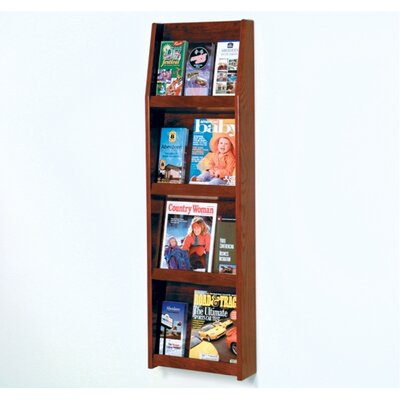 Wooden Mallet Four Magazine and Twelve Brochure Wall Display with Optional Floor Stand