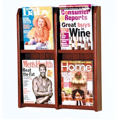 Wooden Mallet Four Magazine Oak and Acrylic Wall Display