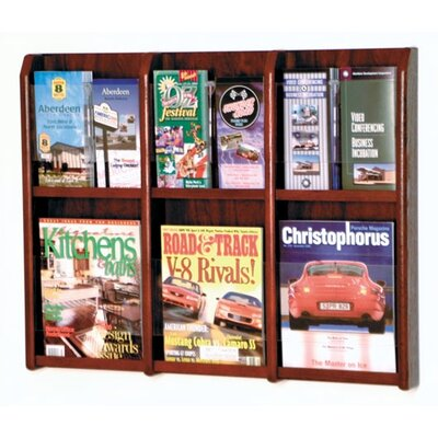 Wooden Mallet Six Magazine and Twelve Brochure Oak and Acrylic Wall Display
