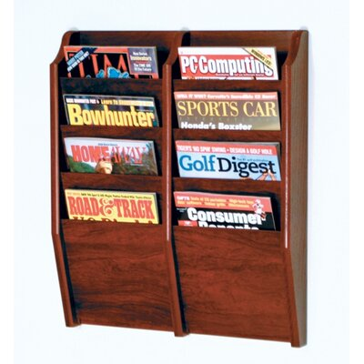 Wooden Mallet 8 Pocket Wall Mount Magazine Rack