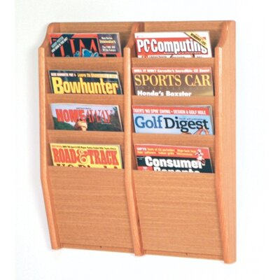 Wooden Mallet Eight Pocket Wall Mount Magazine Rack