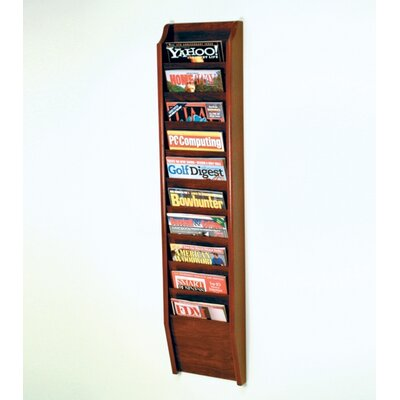 Wooden Mallet Ten Pocket Wall Mount Magazine Rack