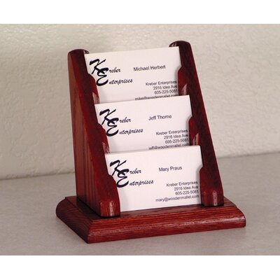 Wooden Mallet Three Pocket Counter Top Business Card Holder
