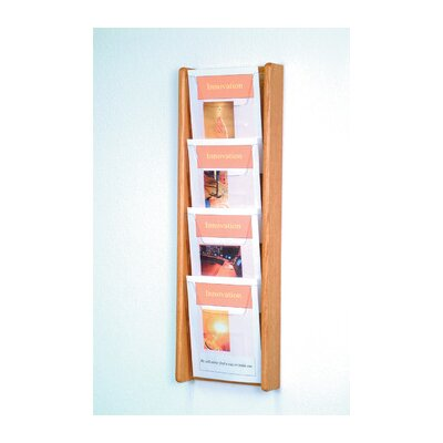 Wooden Mallet Four Pocket Acrylic and Oak Wall Display