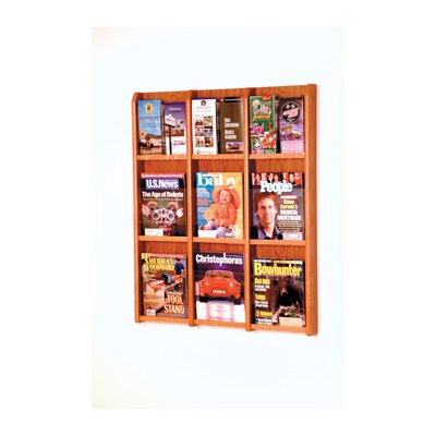 Wooden Mallet Nine Magazine and Eighteen Brochure Oak and Acrylic Wall Display with Optional Floor Stand