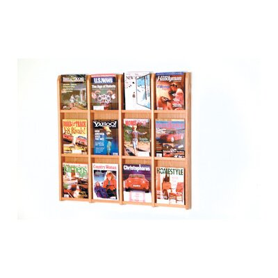 Wooden Mallet Twelve Magazine Oak and Acrylic Wall Display with Optional Floor Stand