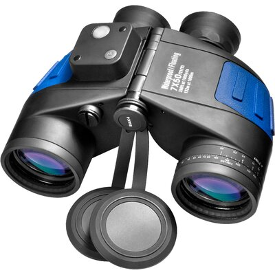 Barska 7x50 WP Deep Sea Binoculars, with Internal Rangefinder and Compass, Individual Focus, FLOATS, FMC, Blue Lens